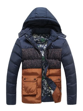Ericdress Color Block Thicken Warm Big Pocket Design Men's Winter Coat
