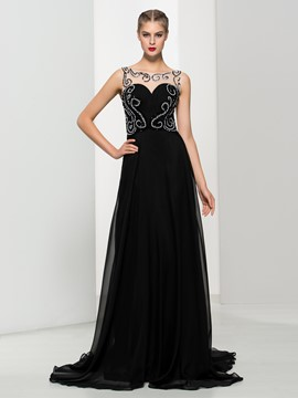 Ericdress Bateau Neck Beading Pleats Backless Evening Dress