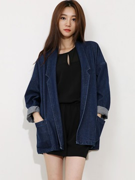 Ericdress Loose Notched Lapel Denim Outerwear