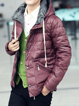 Ericdress Plain Thicken Warm Hooded Men's Winter Coat