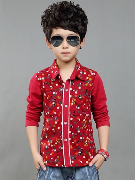 Ericdress Color Block Polka Dots Boys Shirt