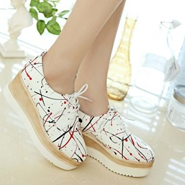 Ericdress Painted PU Lace-Up Casual Shoes