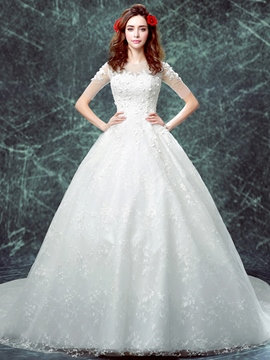 Ericdress Charming Short Sleeves Lace Wedding Dress