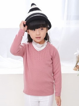 Ericdress Plain V-Neck Girls Sweater