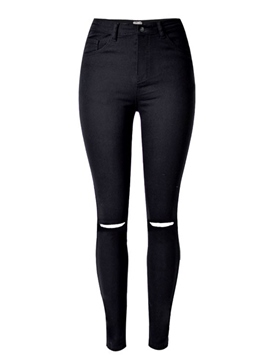 Ericdress Skinny Hole Pencil Button Jeans