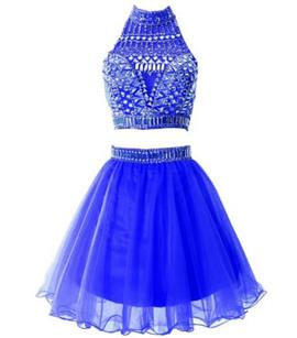 Ericdress Sheath Two Pieces Jewel Neck Beading Mini Homecoming Dress