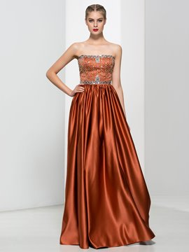 Ericdress A-Line Strapless Beading Rushed Evening Dress