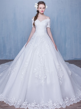 Ericdress Charming Short Sleeves Wedding Dress