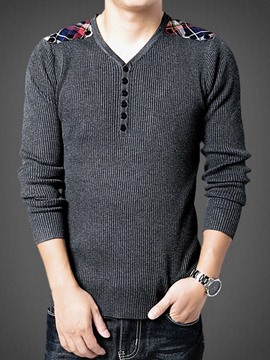 Ericdress Patched V-Neck Pullover Men's Sweater