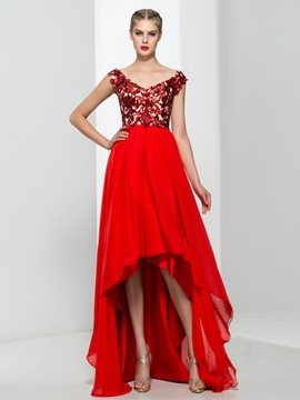 Ericdress V-Neck Cap Sleeves Sequins Asymmetry Prom Dress