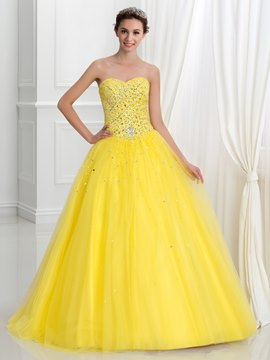 Ericdress Sweetheart Perlen Pailletten Spitzen-Up Quinceanera Kleid