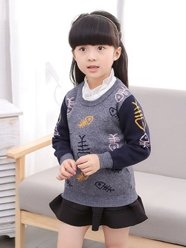 Ericdress Color Block Girls Sweater