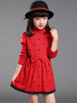 Ericdress Bowknot Girls Sweater Dress