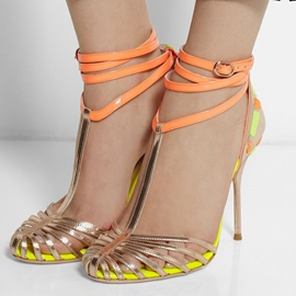 Ericdress Contrast Color Hollow Out Stiletto Sandals