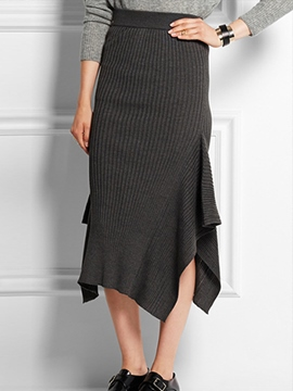 Ericdress Knit Asymmetric Column Skirt