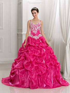 Ericdress Spaghetti Riemen Applikationen Pick-Ups Ball Gown Quinceanera Kleid
