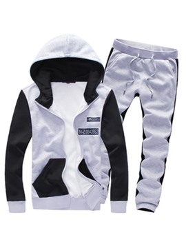 Ericdress Color Block Zip Hooded Men's Sports Suit