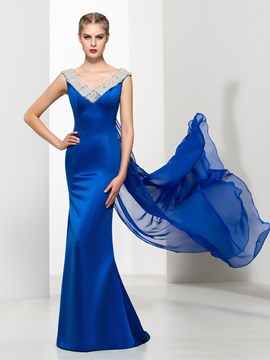 Ericdress Luxury Mermaid V-Neck Beading Watteau Train Evening Dress