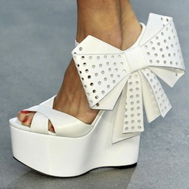 Ericdress White Big Side Bowtie Wedge Sandals