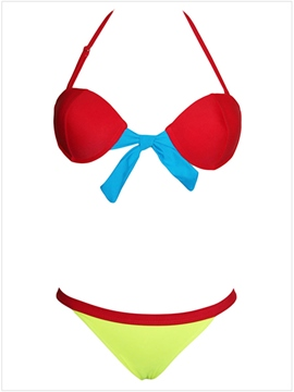 Ericdress Color Block Low-Waist Bikini