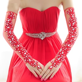 Ericdress Amazing Red Long Wedding Gloves