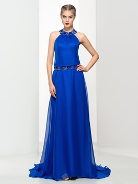 Ericdress A-Line Halter Beading Watteau Neck Evening Dress