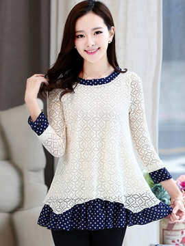 Ericdress Color Block Polka Dots Blouse