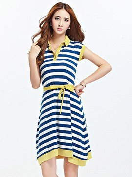 Ericdress Stripe Lace-Up Lapel Plus Size Casual Dress