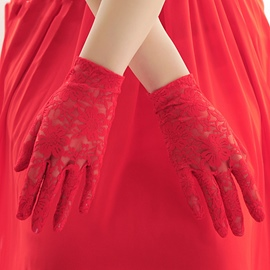 Ericdress Beautiful Red Lace Bridal Gloves