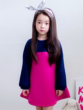 Ericdress Color Block Long Sleeve Girls Dress