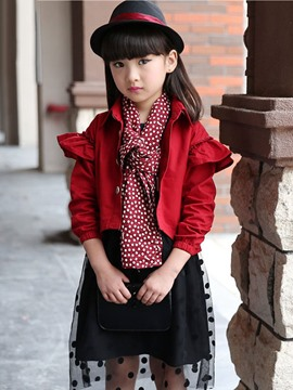 Ericdress Plain Lapel Girls Coat