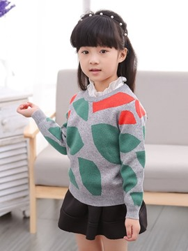 Ericdress Geometric Color Block Girls Sweater
