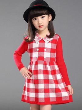 Ericdress Lace Lapel Plaid Girls Dress