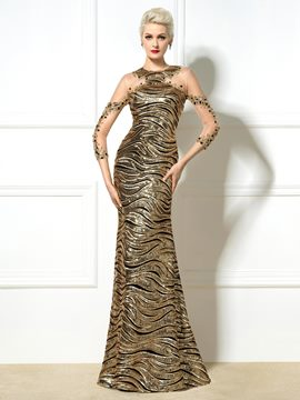Ericdress Three Quarter Sleeves Sequins Beaded Long Evening Dress