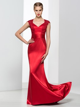 Ericdress V-Neck Cap Sleeves Appliques Sequins Sheath Evening Dress