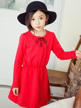 Ericdress Plain Long Sleeve Girls Dress
