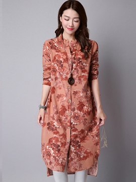 Ericdress Slim Printed Floral Long Blouse