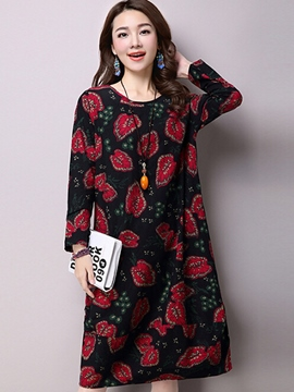 Ericdress Leaf Print Round Neck Casual Dress