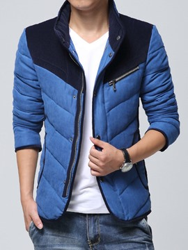 Ericdress Color Block Stand Collar Zip Thicken Men's Winter Jacket