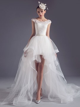 Eridress Chic Detachable Asymmetry Wedding Dress