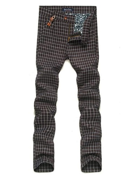 Ericdress Plaid Straight Slim Men's Pants