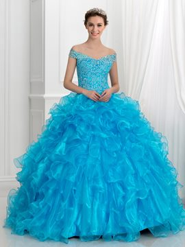 Ericdress Off-The-Shoulder Crystal Lace Ball Gown Quinceanera Kleid mit Rüschen