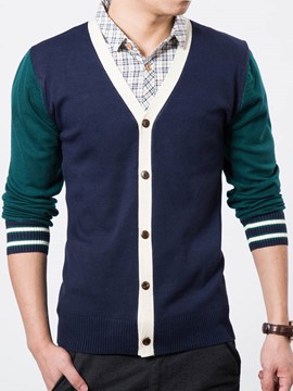 Ericdress Cardigan Color Block Stripe Men's Sweater