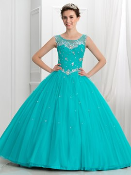 Ericdress Scoop Neck Friesen Falten Taste Quinceanera Kleid