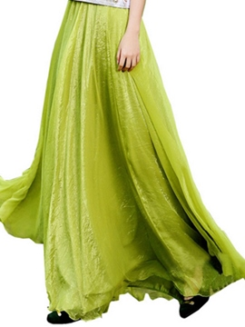 Ericdress Plain Expansion Pleated Maxi Skirt