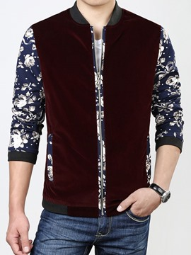 Ericdress Floral Color Block Zip Corduroy Men's Jacket