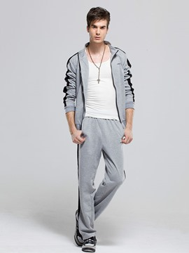 Ericdress Stripe Zip Stand Collar Casual Men's Sports Suit