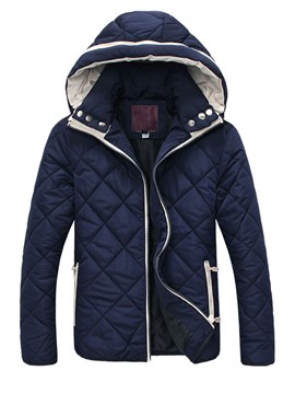Ericdress Diamonds Pattern Hooded Thicken Men's Winter Coat