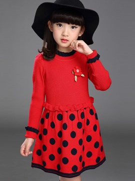 Ericdress Polka Dots Girls Dress
