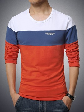 Ericdress Color Block Pullover Long Sleeve Slim Men's T-Shirt